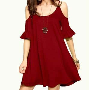 Cold Shoulder Ruffle Cuff Dress in Deep Red
